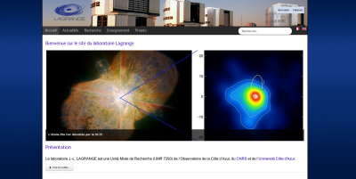 Page principale du nouveau site web du laboratoire Lagrange